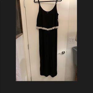 NWT Black Maxi Dress w Cream Lace Trim